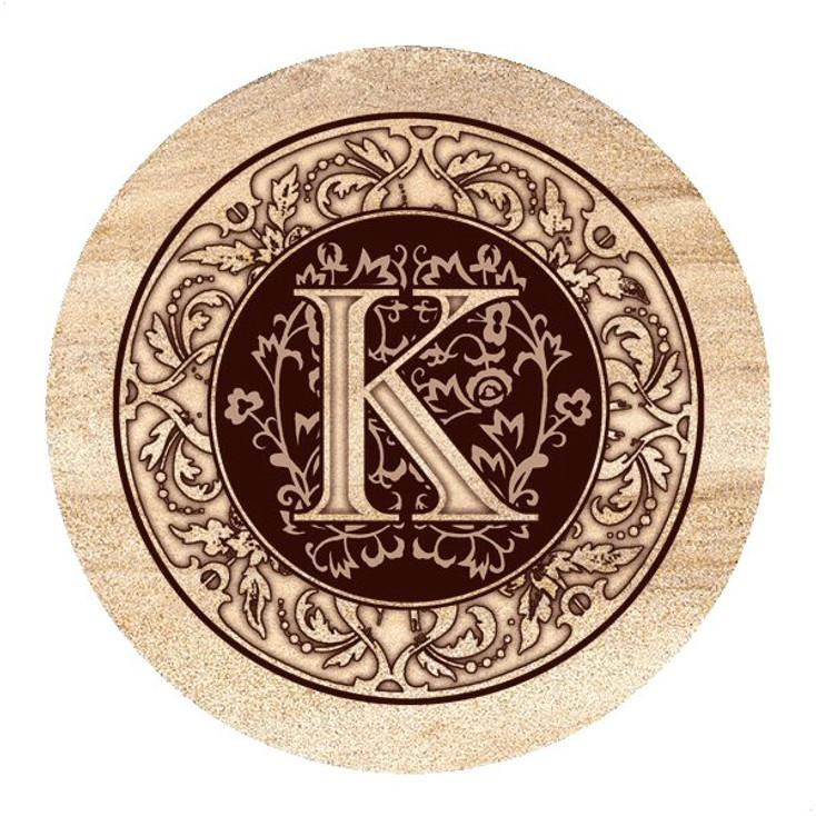 Monogram K Sandstone Beverage Coasters, Set of 4