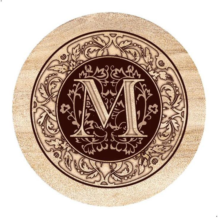 Monogram M Sandstone Beverage Coasters, Set of 4