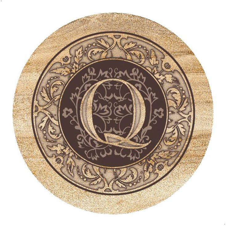 Monogram Q Sandstone Beverage Coasters, Set of 4