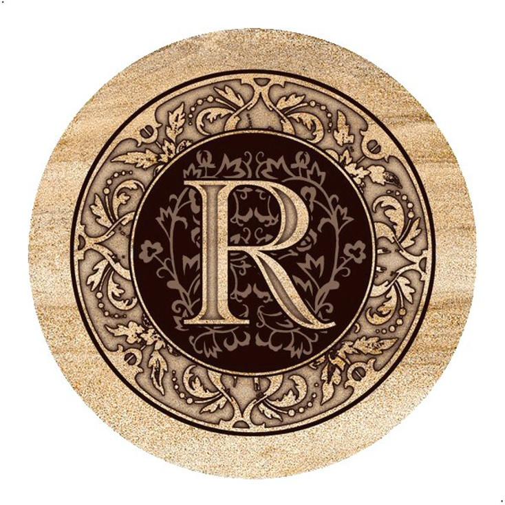 Monogram R Sandstone Beverage Coasters, Set of 4