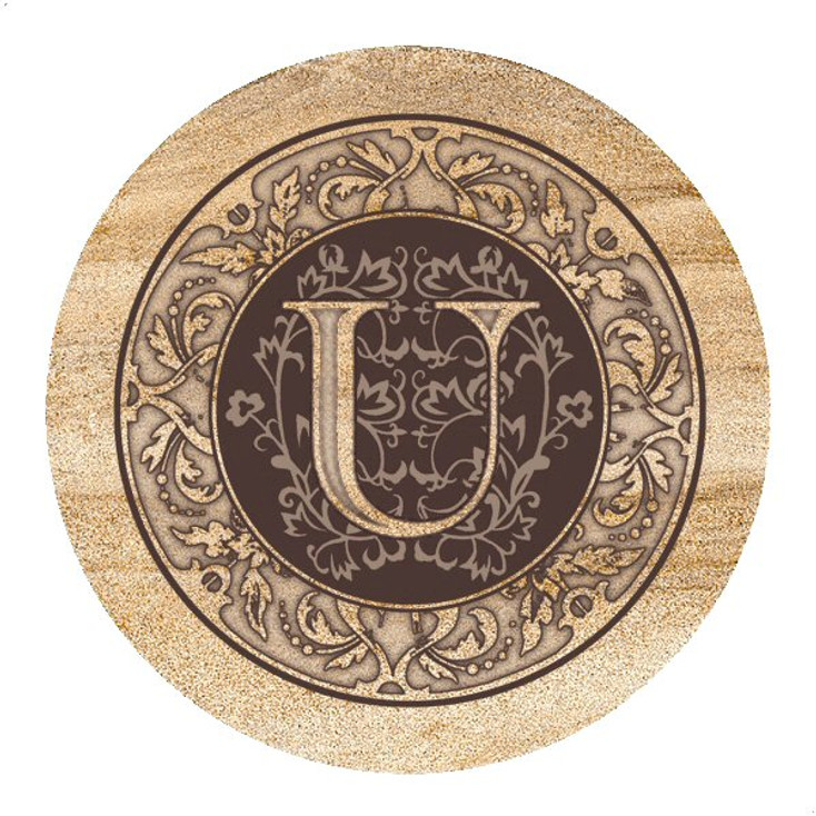 Monogram U Sandstone Beverage Coasters, Set of 4