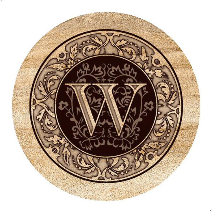 Monogram W Sandstone Beverage Coasters, Set of 4