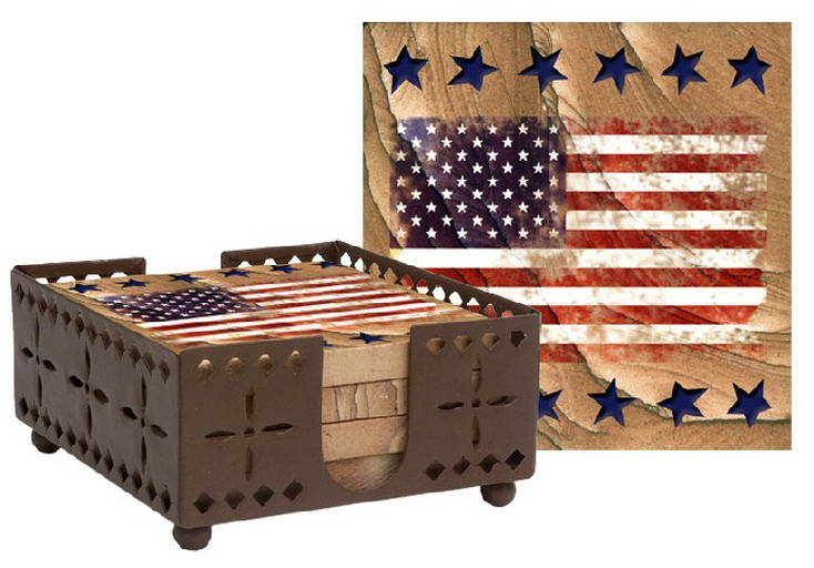 American Flag Cinnabar Sandstone Coasters w/Steel Holder, Set of 10