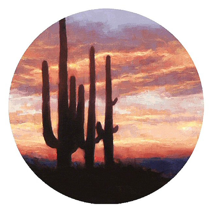 Saguaro Cactus Sunset Sandstone Round Beverage Coasters, Set of 8