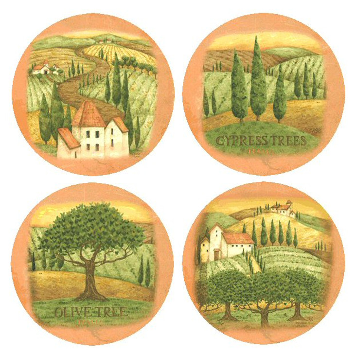 Tuscany Assorted Set Round Beverage Coasters by Debbie Mumm, Set of 8