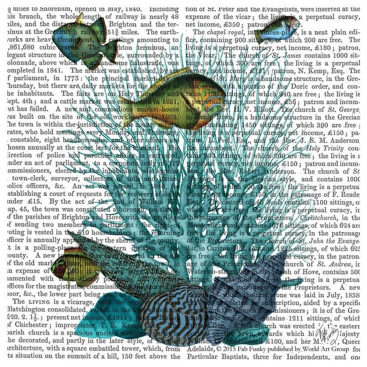 Fish Shells & Corals Print Absorbent Beverage Coasters, Set of 12