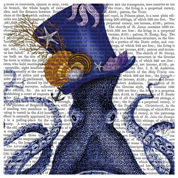 Octopus Nautical Hat Print Absorbent Beverage Coasters, Set of 12