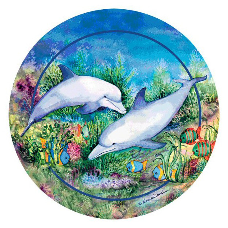 Dolphin Duo Round Beverage Coasters by Kathleen Parr McKenna, Set of 8