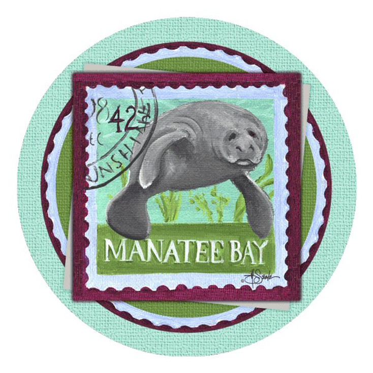 Manatee Bay Absorbent Round Beverage Coasters by Jill Seale, Set of 8