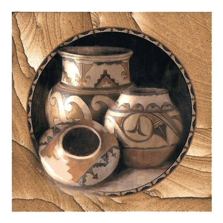Southwest Three Pots Cinnabar Sandstone Beverage Coasters, Set of 8