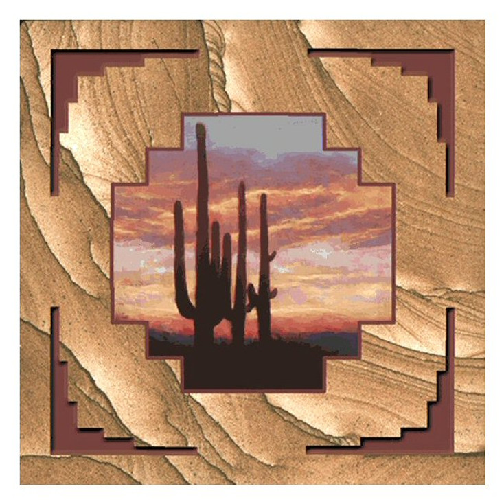Saguaro Cactus Sunset Cinnabar Sandstone Beverage Coasters, Set of 8