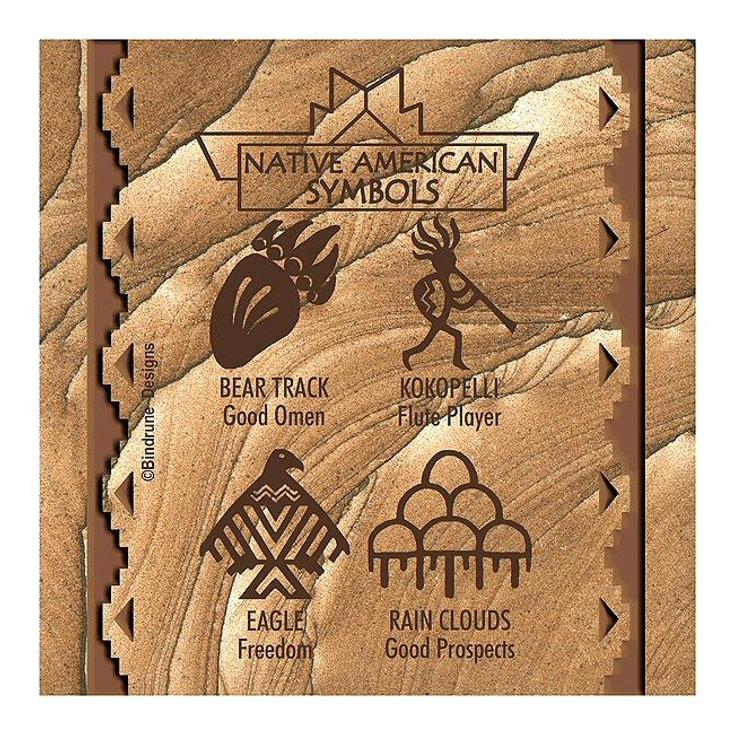 Native American Symbols I Cinnabar Sandstone Coasters, Set of 8