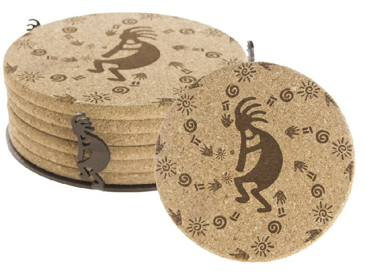 Kokopelli Petroglyphs Beverage Coasters with Steel Holders, Set of 14