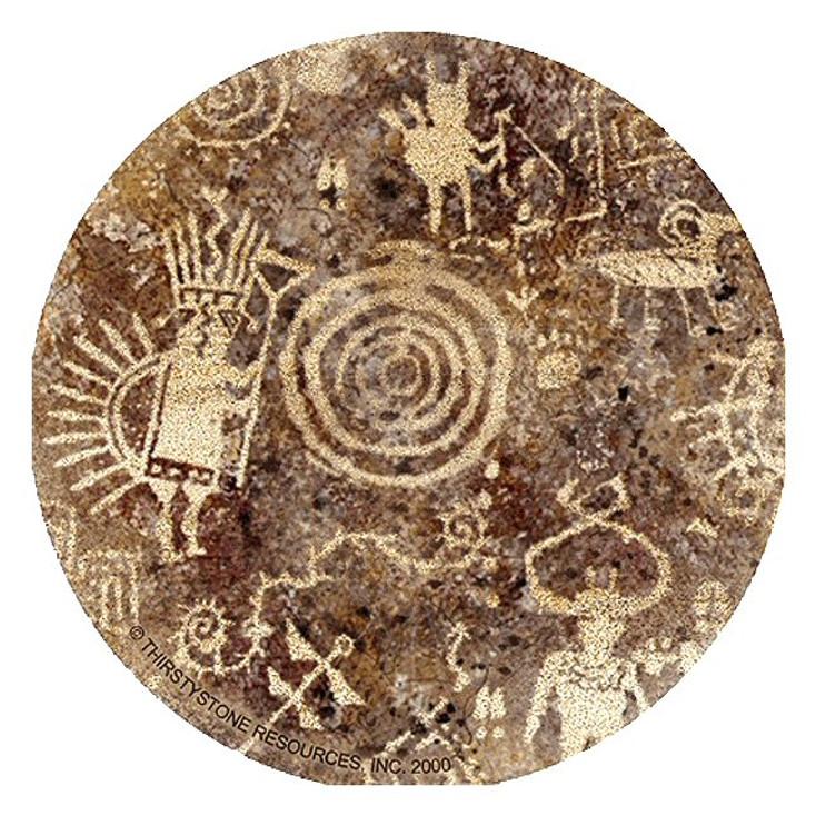 Petroglyph Sandstone Round Beverage Coasters, Set of 8