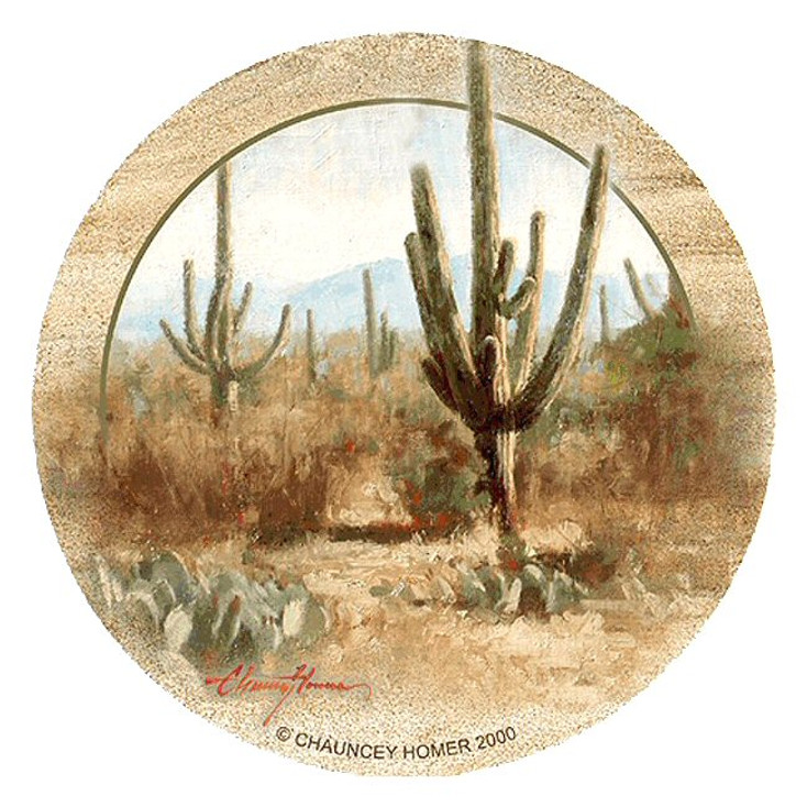 Saguaro Cactus Sandstone Beverage Coasters by Chauncey Homer, Set of 8