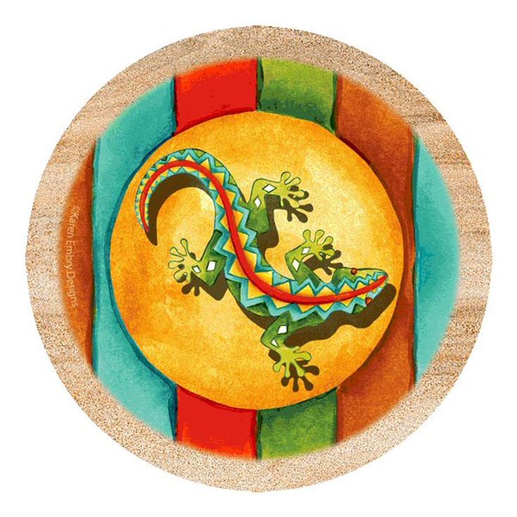 Southwest Gecko Sandstone Beverage Coasters by Karen Embry, Set of 8