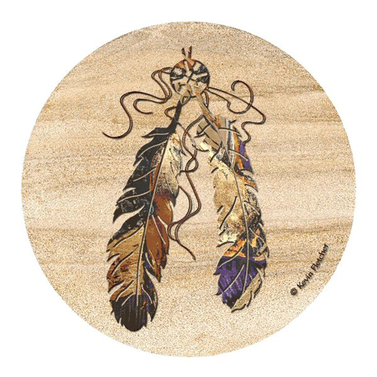 Feathers Sandstone Round Beverage Coasters by Kevin Fletcher, Set of 8