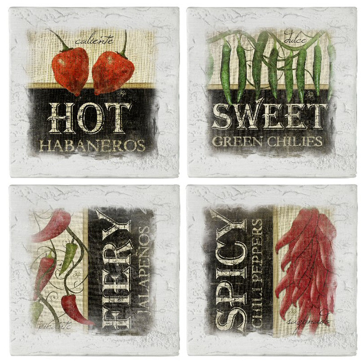 Assorted Peppers Beverage Coasters, Set of 8