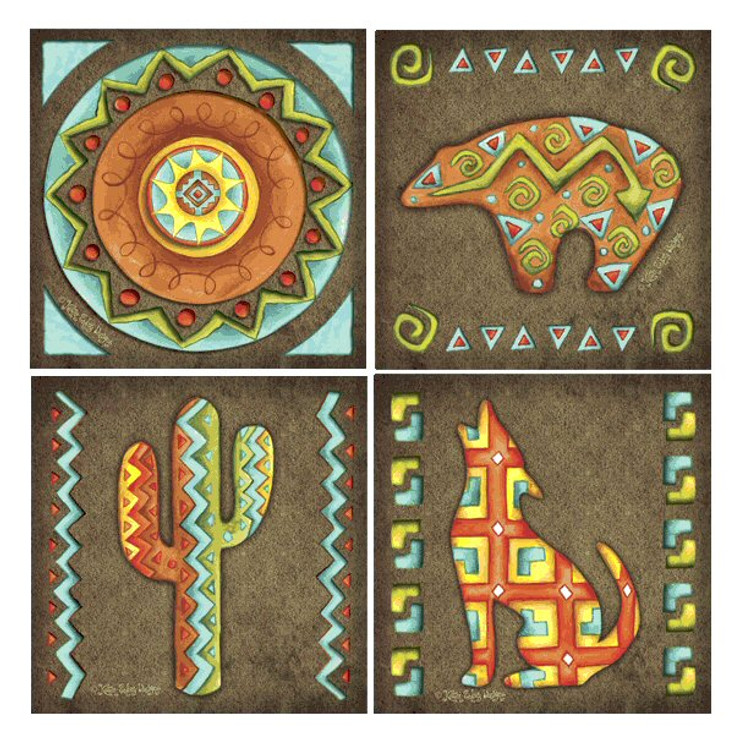 Southwest Icons Absorbent Beverage Coasters by Karen Embry, Set of 8
