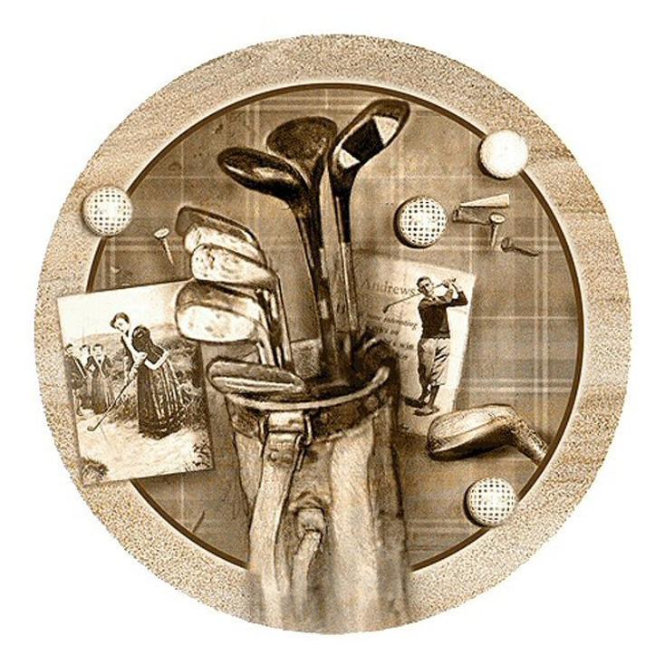 Golf Treasures Sandstone Round Beverage Coasters, Set of 8