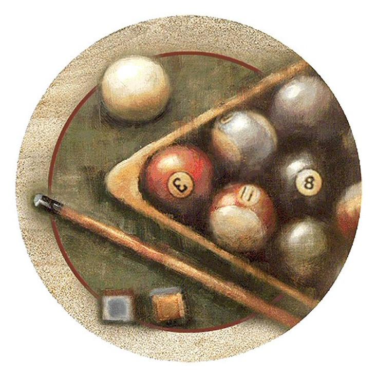 Nostalgic Billiards Pool Sandstone Round Beverage Coasters, Set of 8