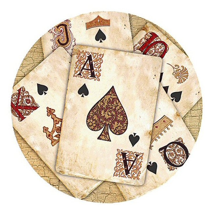 Royal Flush Poker Sandstone Round Beverage Coasters, Set of 8