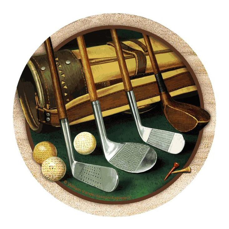 Club Line Up Golf Sandstone Coasters by William Vanderdasson, Set of 8