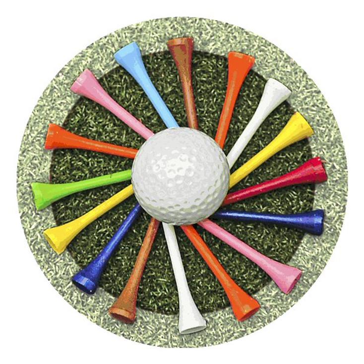 Golf Tees Absorbent Round Beverage Coasters, Set of 8