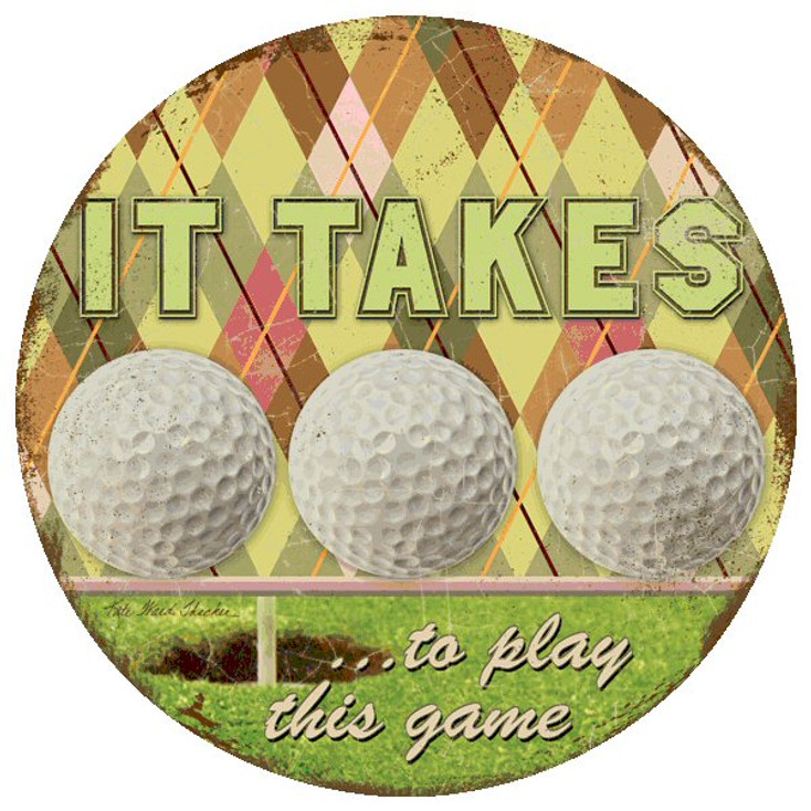 It Takes Balls Golf Beverage Coasters by Kate Ward Thacker, Set of 8