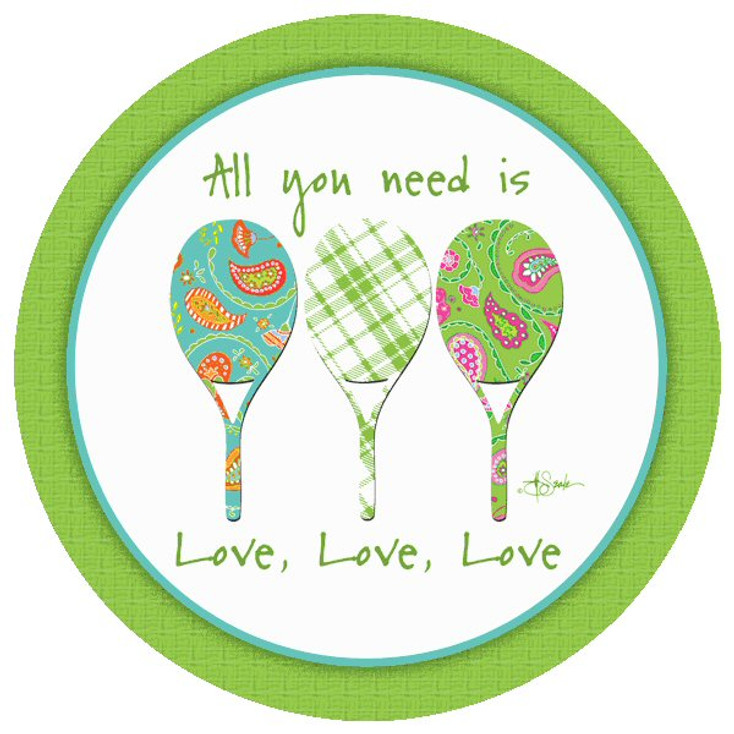 All You Need is Love Tennis Beverage Coasters by Jill Seale, Set of 8