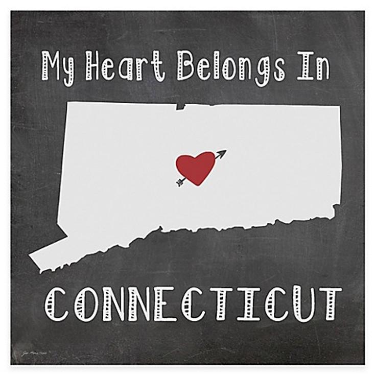 My Heart Belongs In Connecticut Absorbent Beverage Coasters, Set of 8