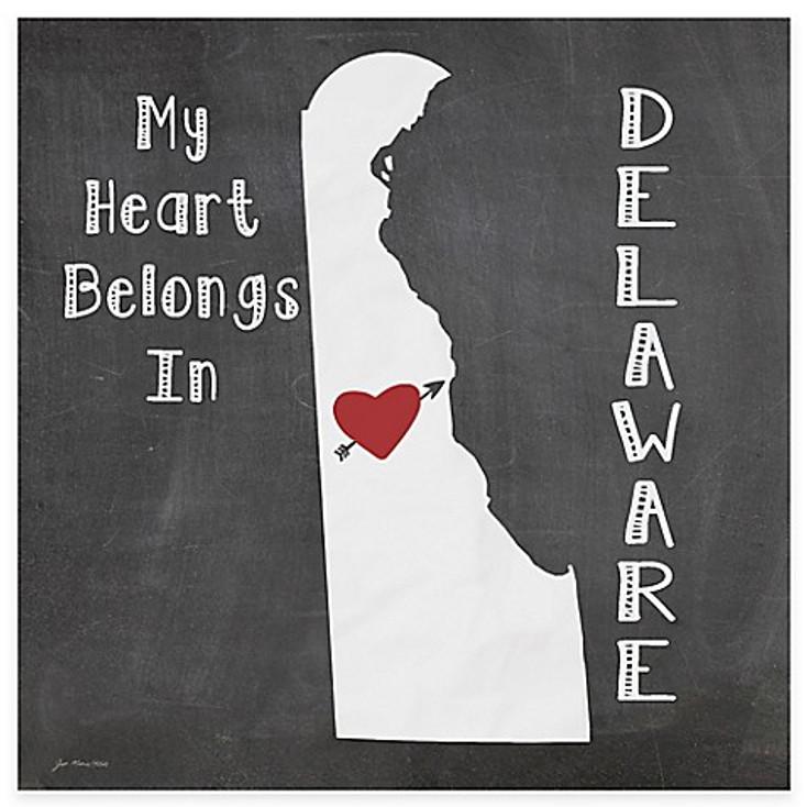 My Heart Belongs In Delaware Absorbent Beverage Coasters, Set of 8