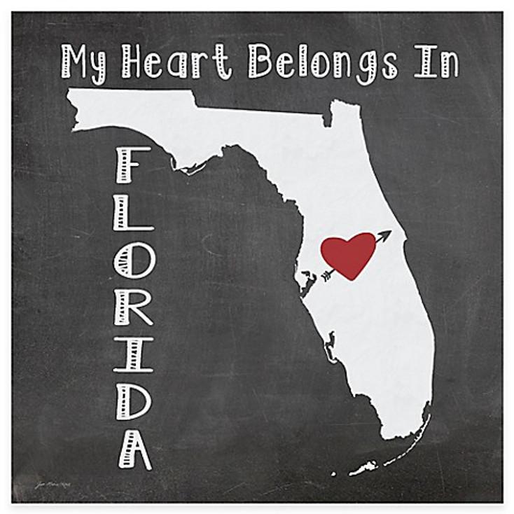 My Heart Belongs In Florida Absorbent Beverage Coasters, Set of 8