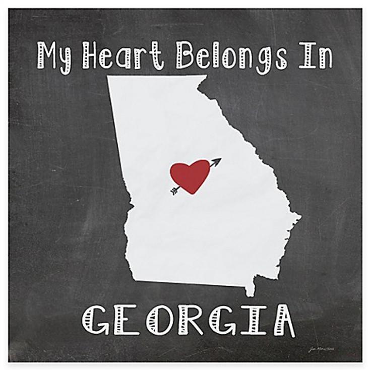 My Heart Belongs In Georgia Absorbent Beverage Coasters, Set of 8