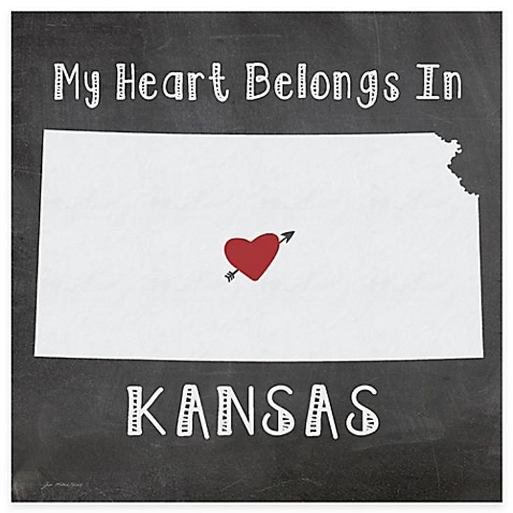 My Heart Belongs In Kansas Absorbent Beverage Coasters, Set of 8
