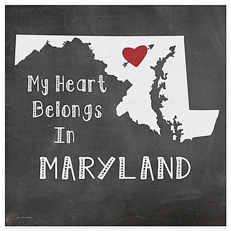 My Heart Belongs In Maryland Absorbent Beverage Coasters, Set of 8