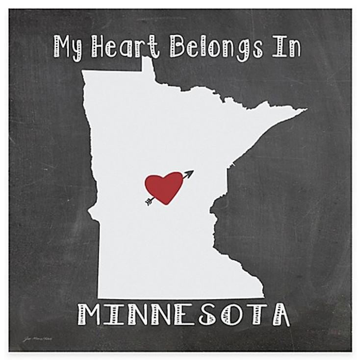 My Heart Belongs In Minnesota Absorbent Beverage Coasters, Set of 8