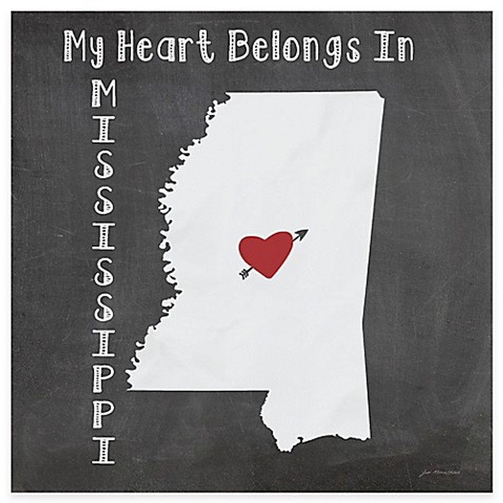 My Heart Belongs In Mississippi Absorbent Beverage Coasters, Set of 8