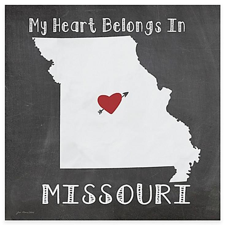My Heart Belongs In Missouri Absorbent Beverage Coasters, Set of 8