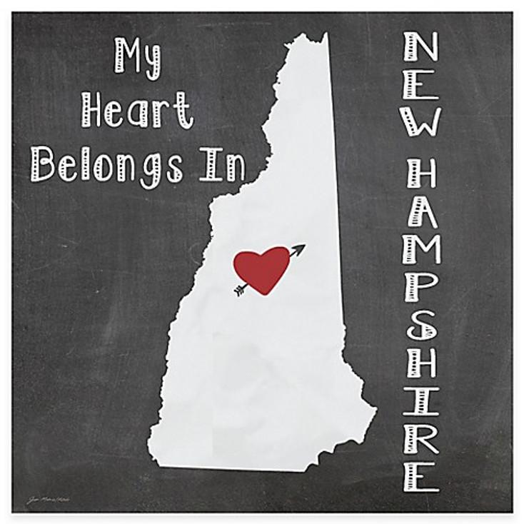 My Heart Belongs In New Hampshire Beverage Coasters, Set of 8