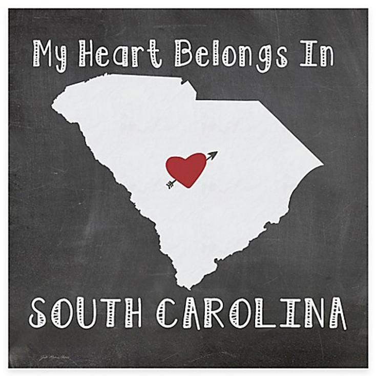 My Heart Belongs In South Carolina Beverage Coasters, Set of 8