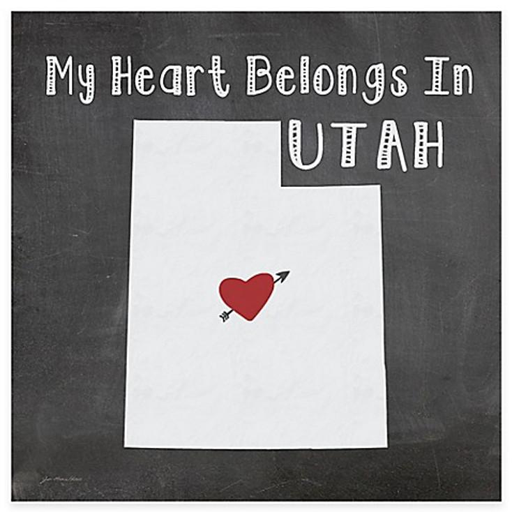 My Heart Belongs In Utah Absorbent Beverage Coasters, Set of 8