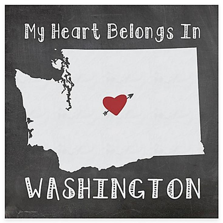 My Heart Belongs In Washington Absorbent Beverage Coasters, Set of 8