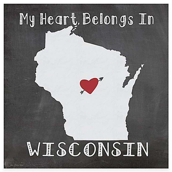 My Heart Belongs In Wisconsin Absorbent Beverage Coasters, Set of 8