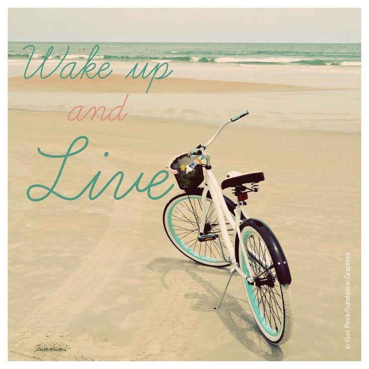 Wake up and Live Bicycle Absorbent Beverage Coasters, Set of 12