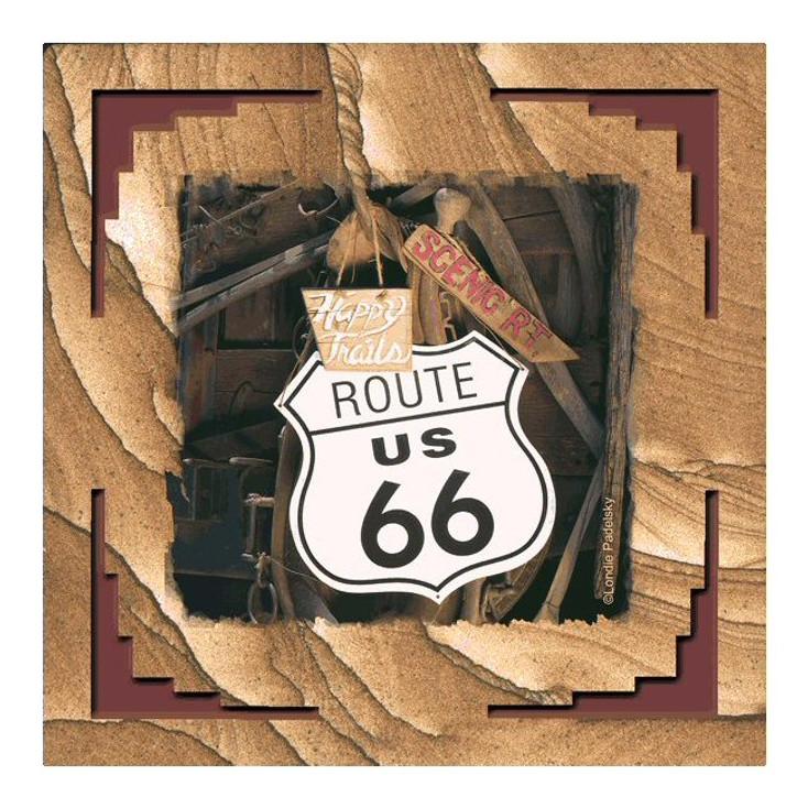 Route 66 Cinnabar Sandstone Coasters by Londie Padelsky, Set of 8