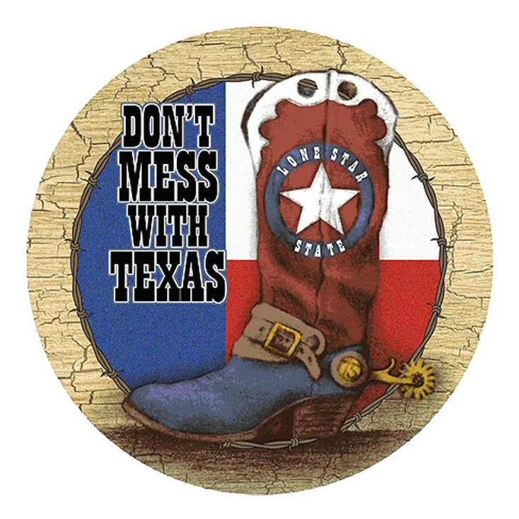 Don't Mess with Texas Boot Sandstone Round Beverage Coasters, Set of 8