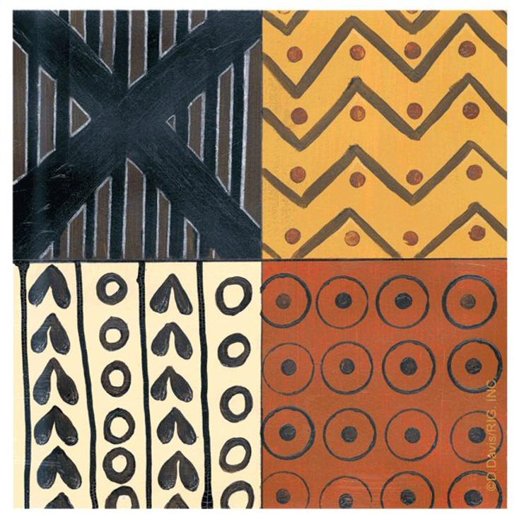 Tribal Pattern II Absorbent Beverage Coasters by D. Davis, Set of 12