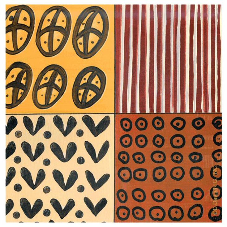 Tribal Pattern III Absorbent Beverage Coasters by D. Davis, Set of 12