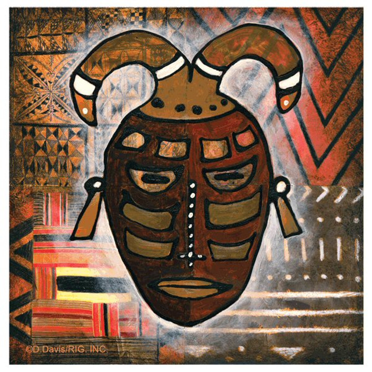 Tribal Mask III Absorbent Beverage Coasters by D. Davis, Set of 12